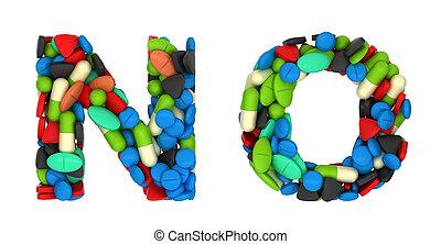 medicación, cartas, fuente, píldoras, n, o