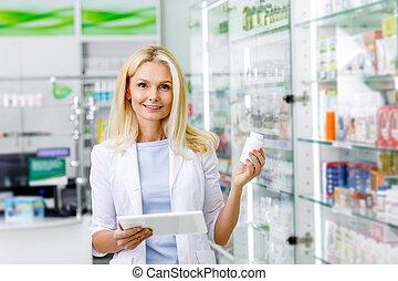 medicación, farmacéutico, tableta, digital