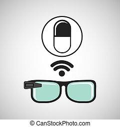 medicación, médico, wifi, digital, píldora, anteojos