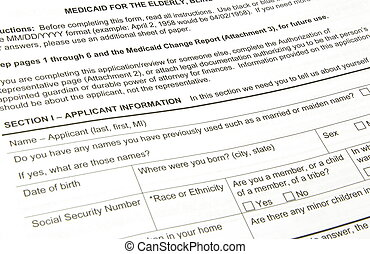 A black Medicaid applilcation waiting to be filled out.