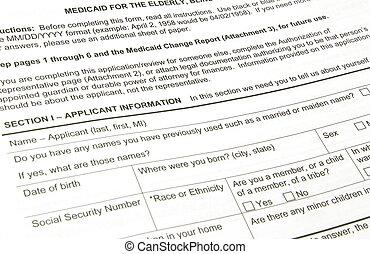 Medicaid Application - A black Medicaid applilcation waiting...