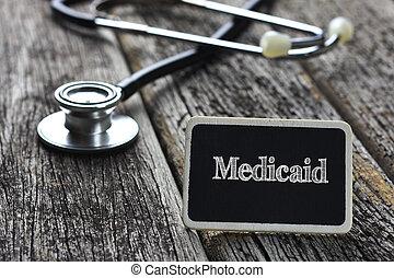 medicaid, monde médical, bois, écrit, stéthoscope, concept...