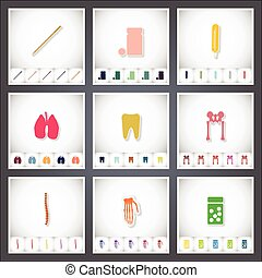 Medical. A set of flat stickers with shadow on white background