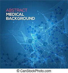 Medical abstract background. Abstract polygonal space low poly dark background with connecting dots and lines. Connection structure. Vector science background. Polygonal vector background.