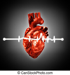 Medical abstract backgrounds with human 3D rendered heart