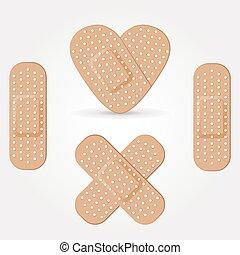 Medical adhesive bandage isolated on white background.