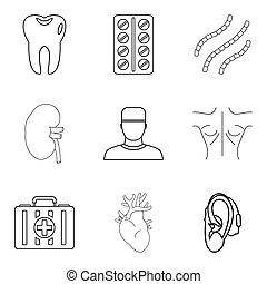 Medical adviser icons set, outline style - Medical adviser...