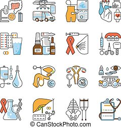 Medical aid concept in flat line style. Medicine icons ...