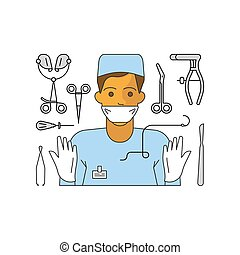 Medical aid concept in flat line style. Surgeon and ...