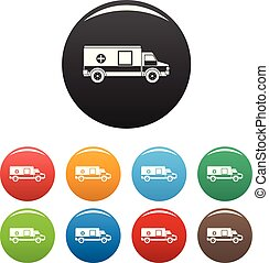 Medical aid icons set color vector