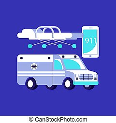 Medical ambulance icons
