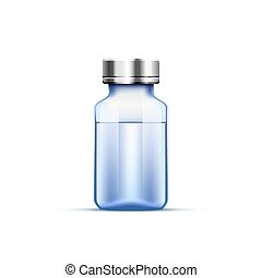 Medical ampoule blue. - Medical ampoule, Objects on white...