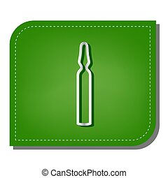 Medical ampoule sign. Silver gradient line icon with dark green shadow at ecological patched green leaf. Illustration.