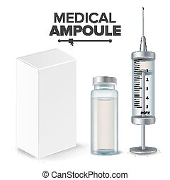 Medical Ampoule, White Package Box, Syringe Vector....