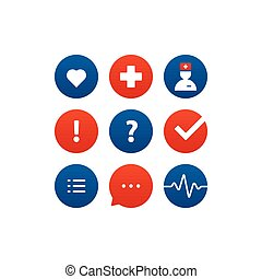 Medical analysis, annual check up, health insurance concept, icons set