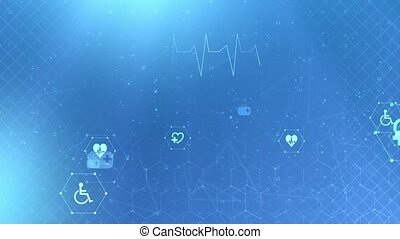 Medical and biomedical healthcare technology concept. User interface diagnosis concept. 4K motion video footage hexagons, structure molecule, 3d rendering science, technology and medical.