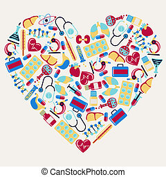 Medical and health care icons in the shape of heart.