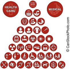 Medical and health care red Icon co