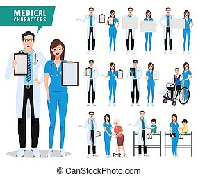 Medical and health care vector character set. Doctor, nurse and pediatrician characters