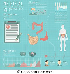 Medical and healthcare infographic, gastrointestinal tract ...