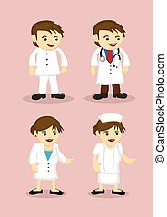 Medical and Healthcare Professionals Vector Icons - Vector...