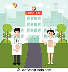 medical and hospital flat design