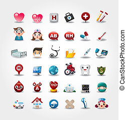 Medical and Hospital icons collection, vector