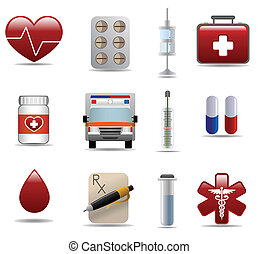 Medical and hospital shiny icons set for web design