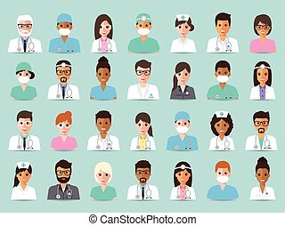 Medical and hospital staff avatars - Group of doctors and...