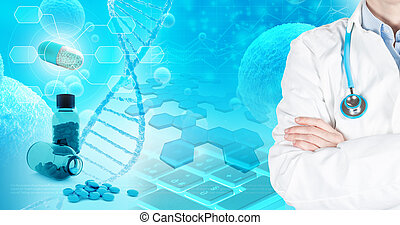 medical and pharmaceutical research concept, 3d illustration