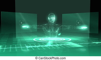 Medical animation with vitruvian man graphic on green and ...