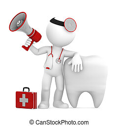 Medical announcement. Isolated - Doctor with megaphone in...