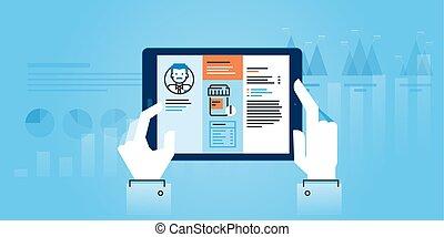 Medical app - Flat line design website banner of medical app...