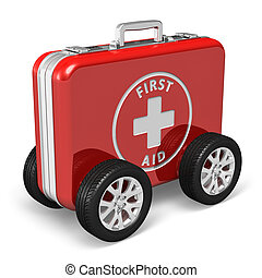 Medical assistance concept: red case with first aid kit with car wheels isolated on white background