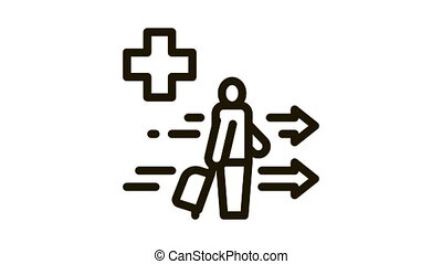 medical assistance to tourist with suitcase Icon Animation. black medical assistance to tourist with suitcase animated icon on white background