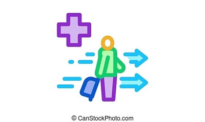 medical assistance to tourist with suitcase Icon Animation. color medical assistance to tourist with suitcase animated icon on white background