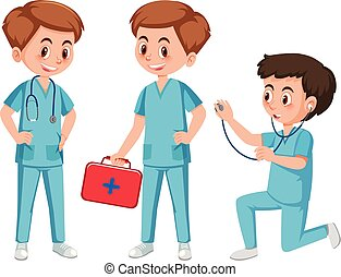 Medical assistant character on white background illustration