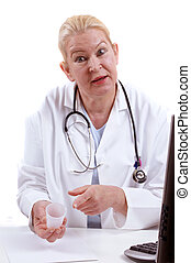 medical assistant with a medical container in her hand