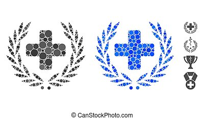 Medical Award Wreath Composition Icon of Spheric Items - ...