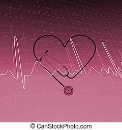 Medical Background - Image of stethoscope and ECG heart beat...