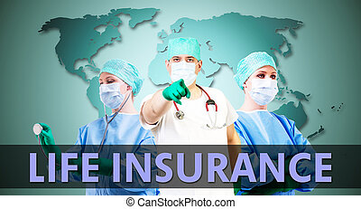 life insurance medical background with female and male doctors