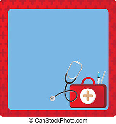medicalbackgound decirate with medicine elements and red Cross background