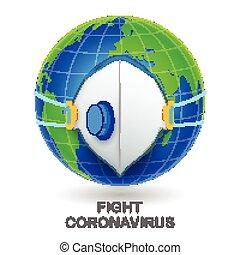 Medical background showing mask on World prevention from deadly Novel Coronavirus 19 epidemic outbreak