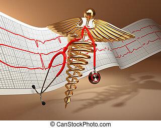 Medical background. Stethoscope, caduceus symbol and...