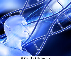 Medical background with DNA strands and male figure
