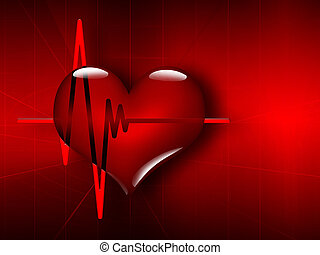 Medical background with ECG and heart