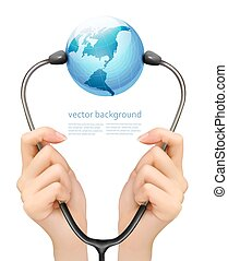 Medical background with hands holding a stethoscope with globe. Vector.