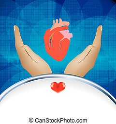 Medical background with human heart illustration