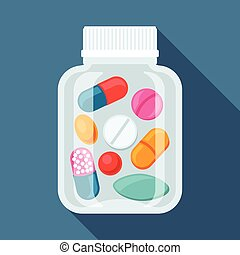 Medical background with pills and capsules in bottle.