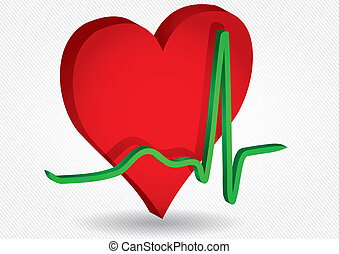 red hearth and ECG curve - Medical background with red...